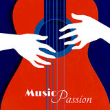 Music Passion Poster. With red guitar silhouette on blue background and male hands on strings flat vector illustration Royalty Free Stock Photography