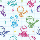 Music pattern. Seamless doodle background with happy children band with musical instruments on school paper Royalty Free Stock Photos