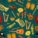 Music pattern of musical instruments flat icons Stock Photos