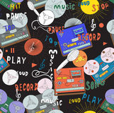Music pattern. Seamless music pattern with old tape recorders, microphones  and cassette players in spirit of 70s and 80s Stock Images