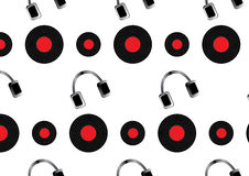 Music pattern. With vinyl discs and headphones Royalty Free Stock Images