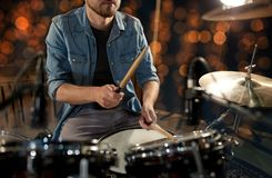 Male musician playing drum kit at concert Royalty Free Stock Photography