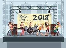 Music performance on stage with young musicians. Rock concert vector background. Musician group with guitarist, keyboardist and vocalist illustration Royalty Free Stock Photos