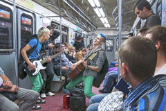 Music performances in the subway Stock Images