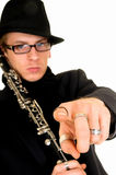 Music performer, clarinet Stock Photo