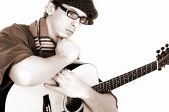Music performer, guitar Royalty Free Stock Photos