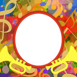 Music photo frame. With trumpets and musical notes on bright background Stock Photo
