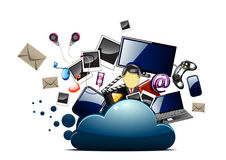 Music, photo and video inside the cloud folder. On white background Vector Illustration