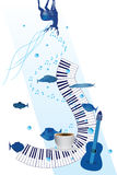 Music piano enjoy card Royalty Free Stock Photos