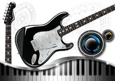 Music with Piano Guitar and Woofer Royalty Free Stock Photography