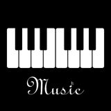 Music piano keyboard. Vector illustration. On black background Stock Image
