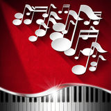 Music Piano and Note Background - Red Velvet Stock Photography
