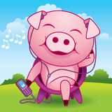 Music Pig Cartoon. Funny cartoon illustration of a pig relaxing outdoors and listening to music Stock Image
