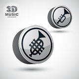 Music pipe icon isolated, 3d vector music theme design element. Stock Photos