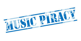 Music piracy blue stamp. Isolated on white background Stock Photography