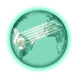 Music planet. Green planet with notes and treble clef Royalty Free Stock Photos