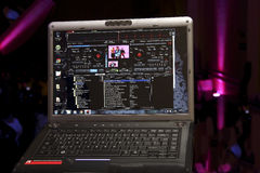 Music play list. Laptop with music play list during a party royalty free stock photos