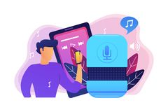 Music playback and music streaming concept vector illustration. User playing music on smart speaker and mobile phone. Music playback and streaming, voice stock illustration