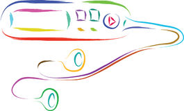 Music player. Abstract mp3 music player in colors royalty free illustration