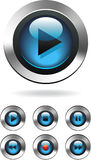 Music Player Buttons. Blue Gel music player button series, isolated Stock Photos