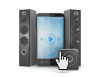 Music player in cell phone and audio speakers Stock Image