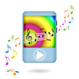 Music player dancing. Dancing mp3 music player and musical notes  on white background Royalty Free Stock Photography