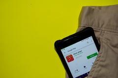 Music Player dev application on Smartphone screen. BEKASI, WEST JAVA, INDONESIA. DECEMBER 13, 2018 : Music Player dev application on Smartphone screen. Music royalty free stock photo
