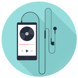 Music player with earphone on blue background, flat vector icon. Music player with earphone with long shadow on blue background. Flat vector icon Royalty Free Stock Images