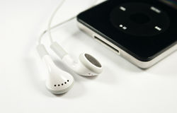 Music player and earphones Stock Image