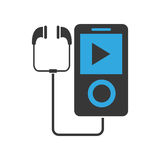 Music player with earphones icon. Flat design portable music device with earphones illustration royalty free illustration