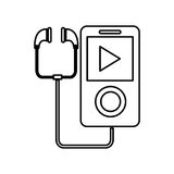 Music player with earphones icon. Simple black line portable music device with earphones illustration stock illustration