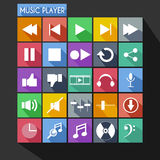 Music Player Flat Icon Long Shadow Stock Photos