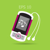 Music player with headphones. Stock Image