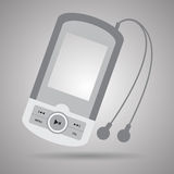 Music player with headphones. Royalty Free Stock Photos