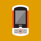 Music player with headphones. Royalty Free Stock Image