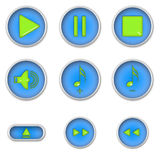 Music player icon. Blue buttons with light green badges Royalty Free Stock Photo