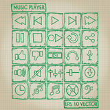 Music Player Icon Doodle Set Royalty Free Stock Photo