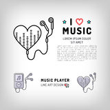 Music player  icon, I love music Vector illustration Royalty Free Stock Photography