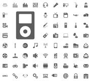 Music player icon. Media, Music and Communication vector illustration icon set. Set of universal icons. Set of 64 icons.  Royalty Free Stock Images