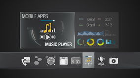 Music player icon for mobile application contents.Various application function for smart device.Digital display application. Mobile application contents.Various stock video footage