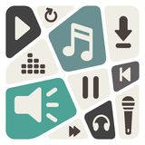 Music Player Icons Background Royalty Free Stock Images