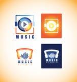 Music player studio logo icon. Vector company logo icon element template music player play button app sound studio recording headphones stock illustration
