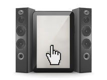 Music player in tablet computer - concept illustration Stock Images
