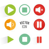 Music player themed icon set. Royalty Free Stock Image