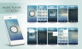 Music Player User Interface kit with Smartphone. Royalty Free Stock Photos