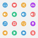 Music and Player vector flat icons on the color substrate  set of 16. On white background Royalty Free Stock Photography