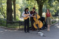 Music players in Central Park. NEW YORK CITY, USA, September 10, 2017 : Music players in Central Park. Central Park is the most visited urban park in the US stock image