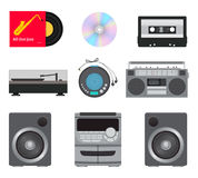 Music players vector set. Set of retro and modern music players: vinyl record, cassette, disk, radio, stereo system with speakers. Vector illustration Royalty Free Stock Photos