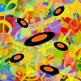 Music playing background with vinyl discs vector illustration