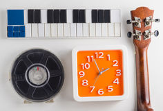 Music playing instrument set practice time. Clock time for Music lesson pratice. Stock Image